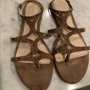 Zara strappy embellished flat sandals Sz 38(7.5)
